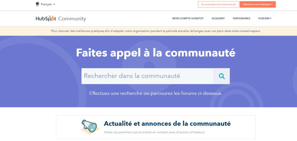 Page d'accueil - rechercher dans la Communauté