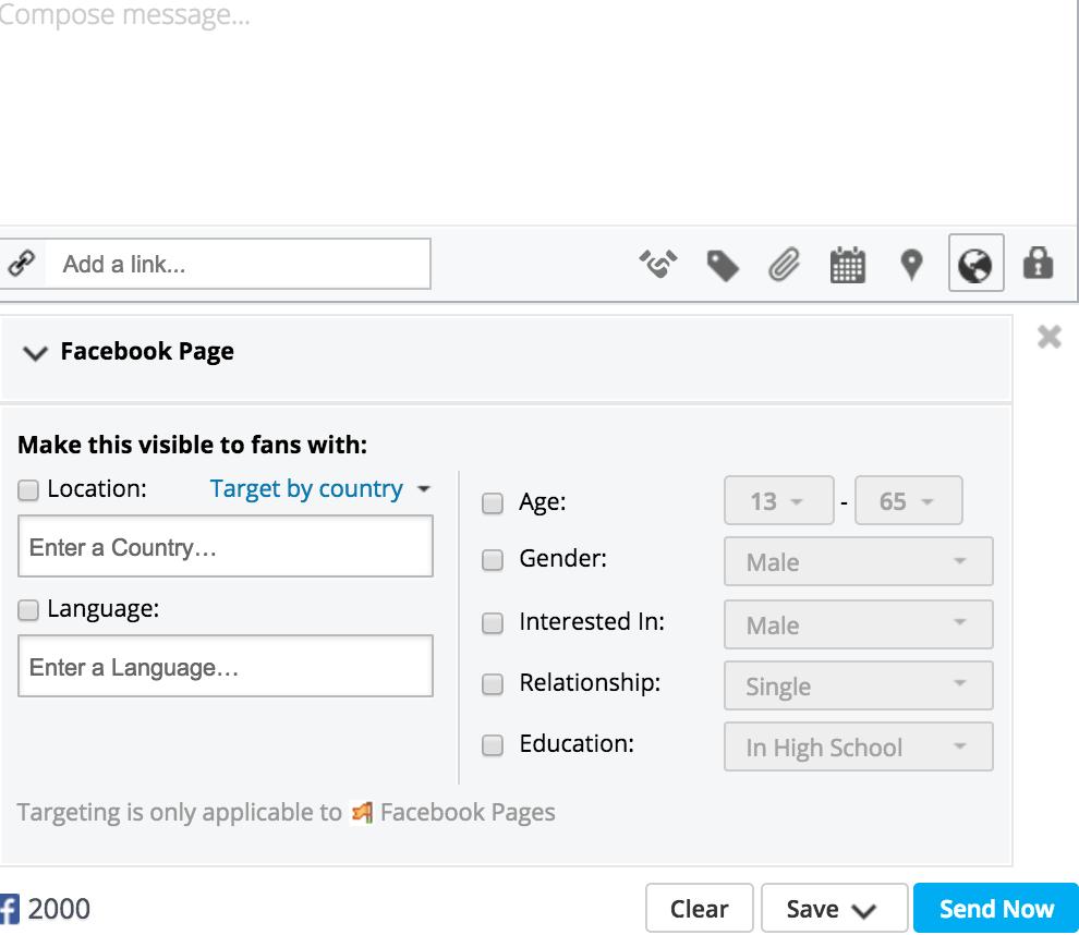 Screenshot Hootsuite Facebook targeting