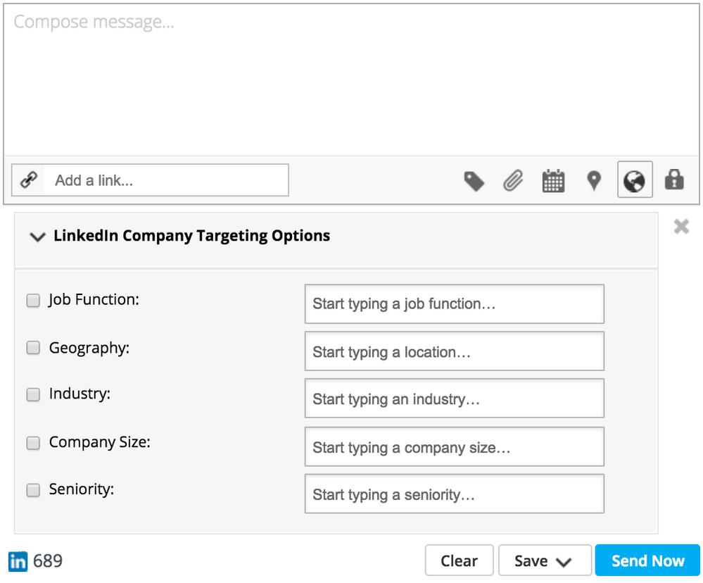 Screenshot Hootsuite LinkedIn targeting capabilities