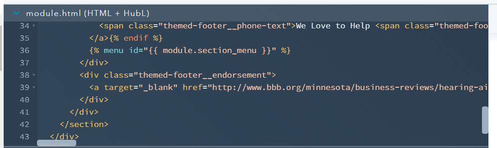 Footer HTML