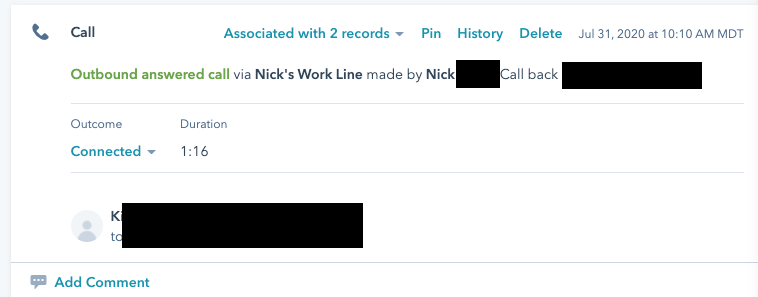 Nick's Aircall, Nick's Line, but Hubspot logged the action under K.