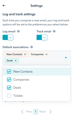 Selecting default association and contact creation