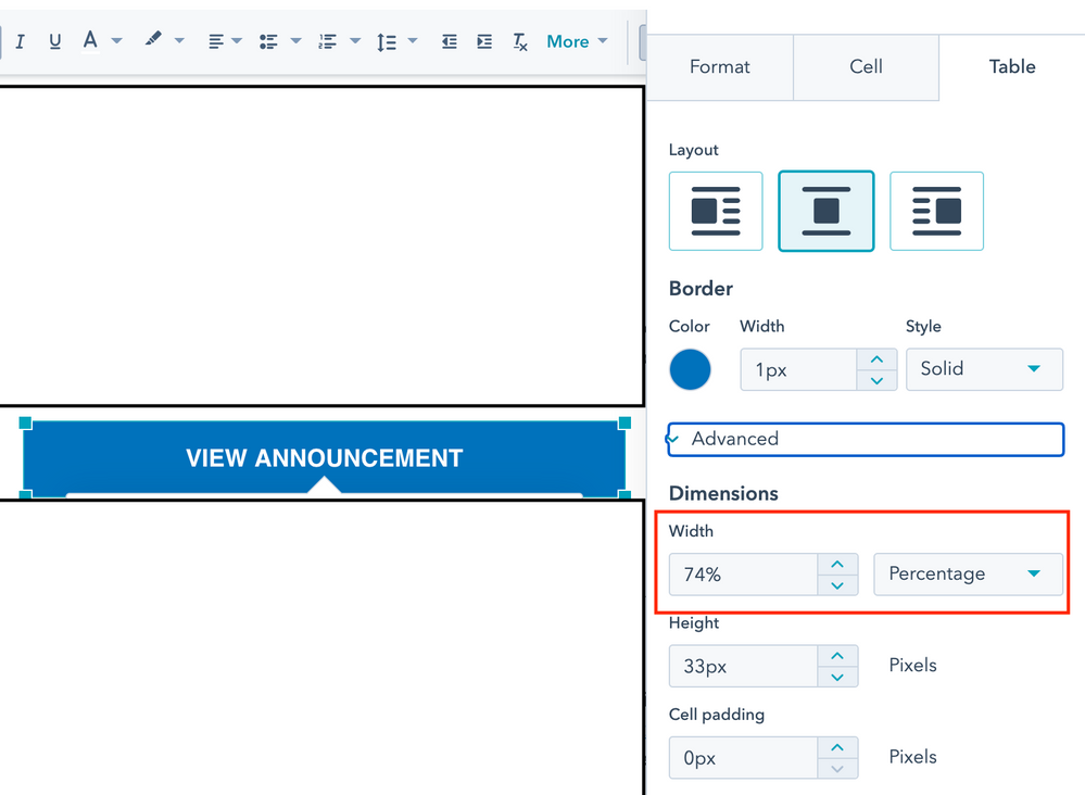 Edit dimension to ensure text fits the table and is responsive across device type- desktop, tablet and mobile
