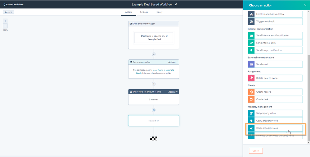 clear property value action in workflow