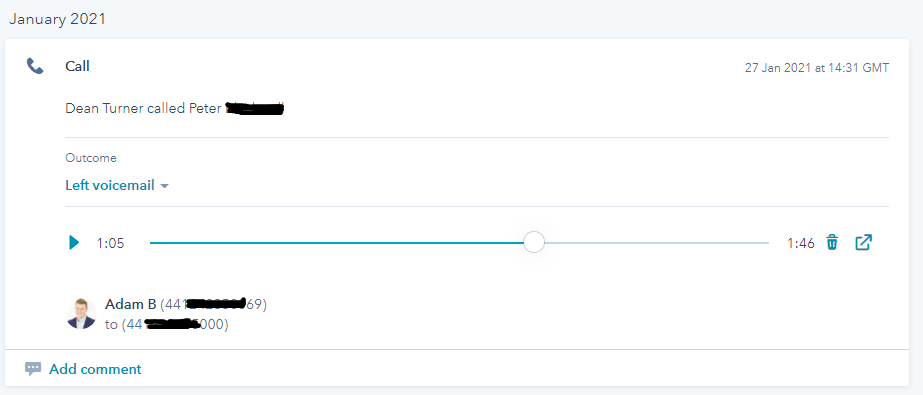 Details show that I called, which is correct, but HubSpot call activity is logged against wrong person.