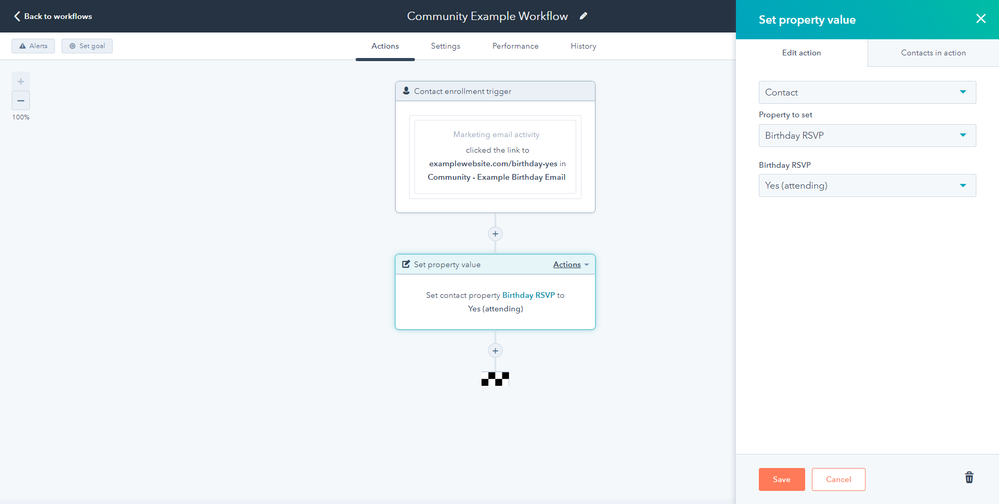 Example workflow to populate property based on email clicks