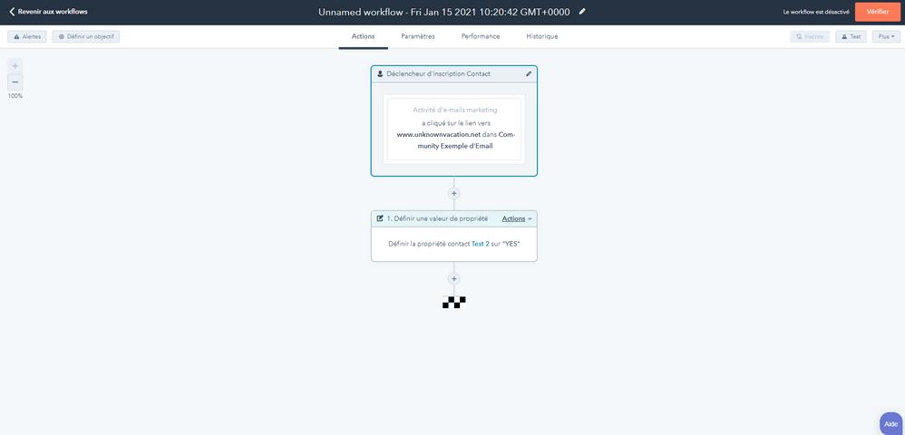 Exemple de workflow pour alimenter la propriété en fonction des clics sur l'e-mail