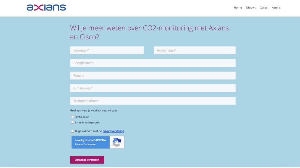 Sceenshot of website on desktop