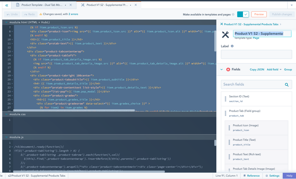 Product V1 S2 - Supplemental Products Tabs HTML and Fields (screenshot-1)