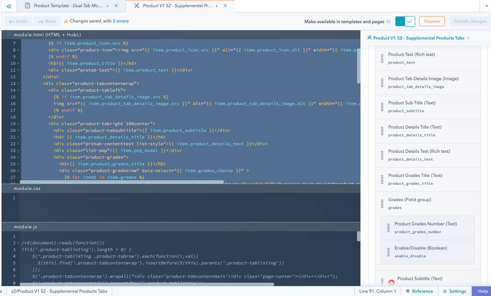 Product V1 S2 - Supplemental Products Tabs HTML and Fields (screenshot-2)