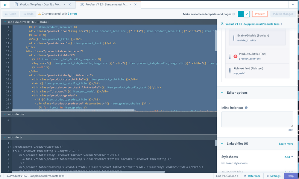 Product V1 S2 - Supplemental Products Tabs HTML and Fields (screenshot-3)