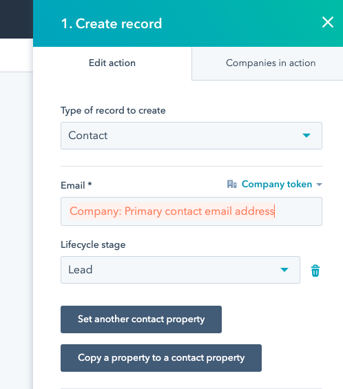 the create record workflow action with a new option to create contact records