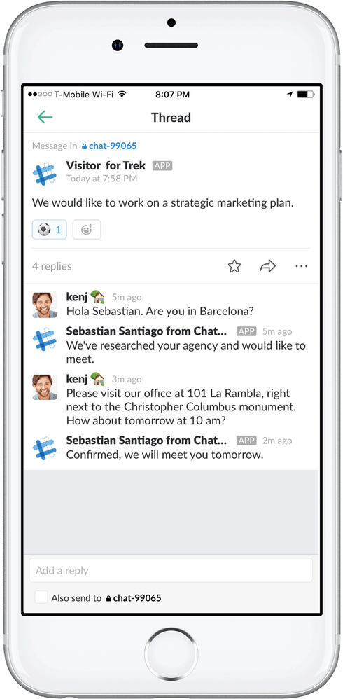 Dossier chat in the Slack mobile app