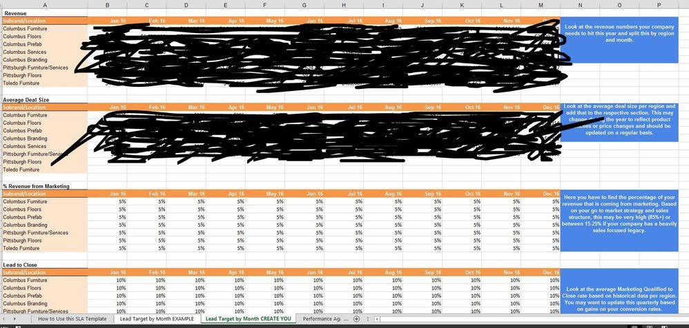 Lead Target By Month Tab
