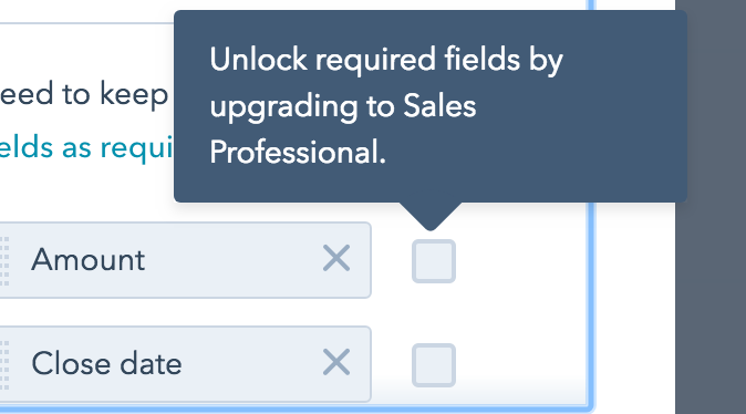 When i try to select 'required fields' it advises me i must upgrade to professional