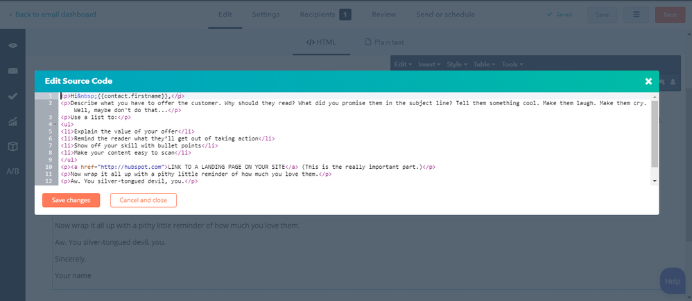 Source code of email draft in HS - showing no tags for bold