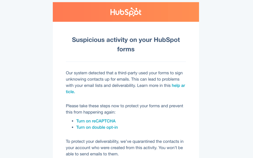 Notification that your form has been recognized as insecure by bots
