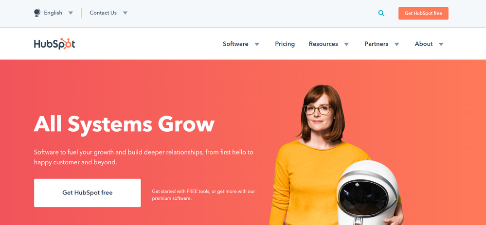 HubSpot's exciting homepage!