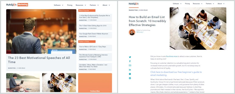 HubSpot's blog, showing the listing page on the left and the post page on the right