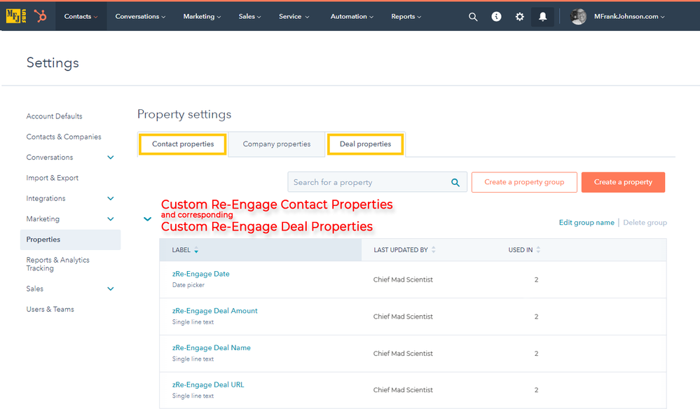 01-mfjlabs-screenshot-Custom-Re-Engage-Contact-Properties-and-Corresponding-Custom-Re-Engage-Deal-Properties.png
