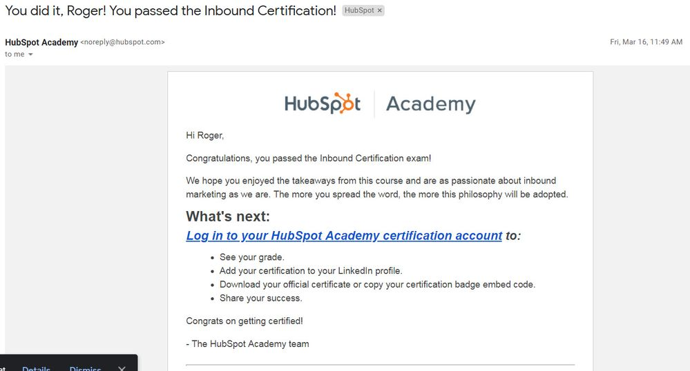 Solved Hubspot Community Passing Certificate Not Showing