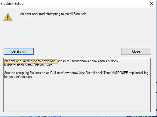 "Solved: HubSpot Community - Fixing Outlook Install ""An Error"