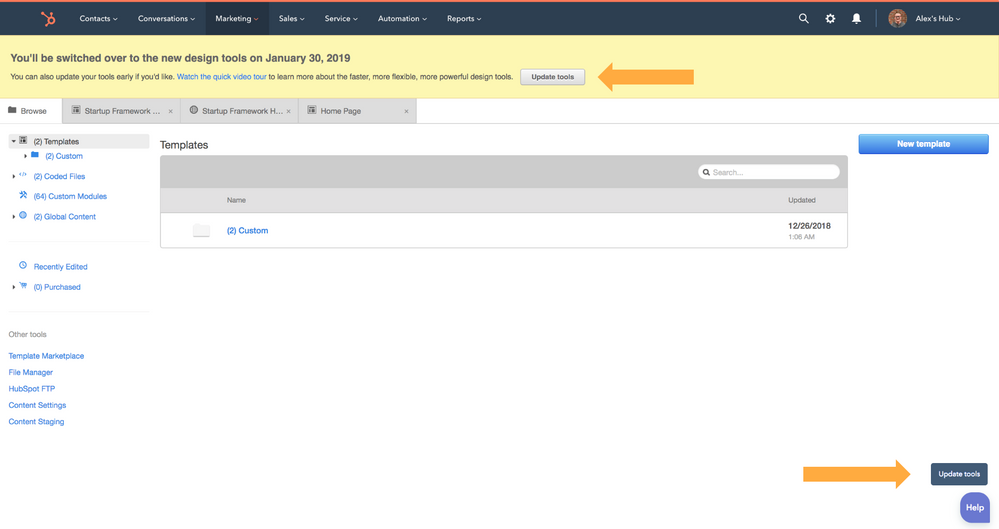 HubSpot Community - Announcement: Access to old design manager will