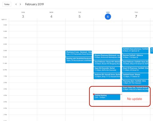 But the corrensponding entry on google calendar is not updated