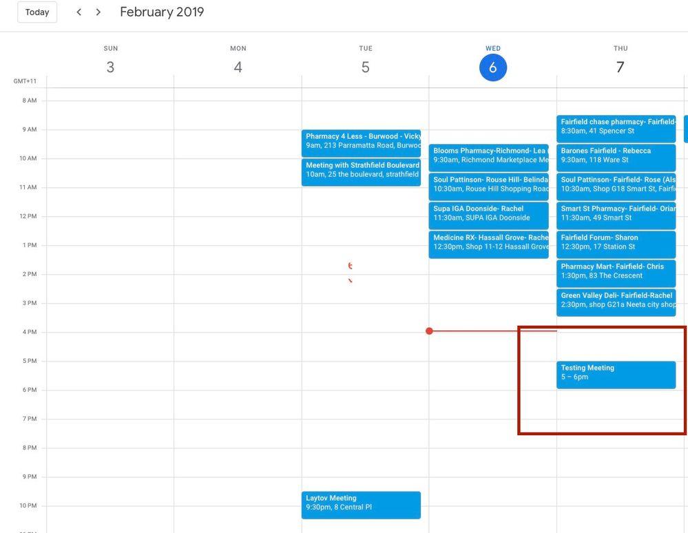 New time & date, updated via google calendar