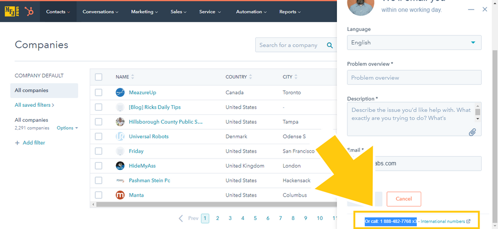 HubSpot Support Chat Window