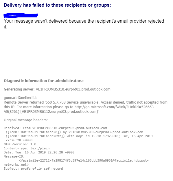 HubSpot Community - Email bounce when trying to send via office 365