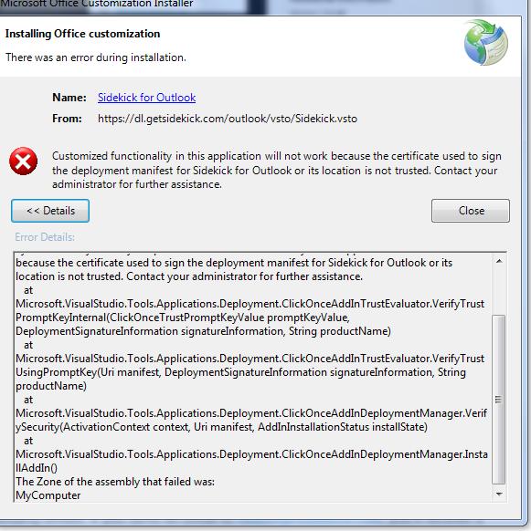 Solved: HubSpot Community - Cannot install Hubspot Sales