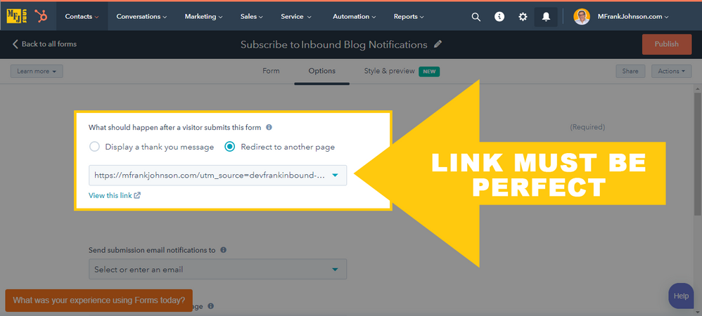 HubSpot Form Options: Redirect Link