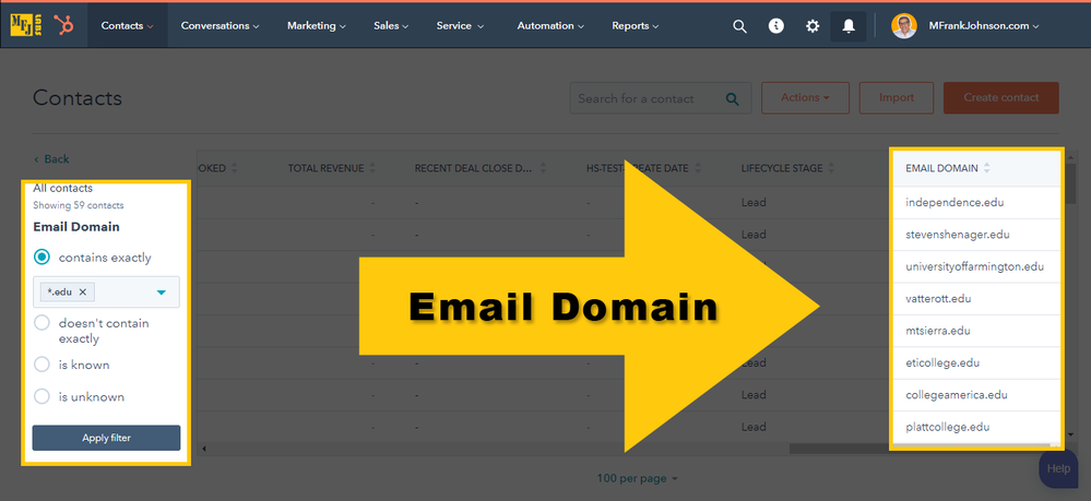 HubSpot Contact View Filter: Email Domain