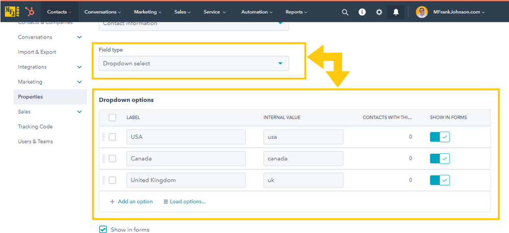 Editing HubSpot Default Property: Contact.Country