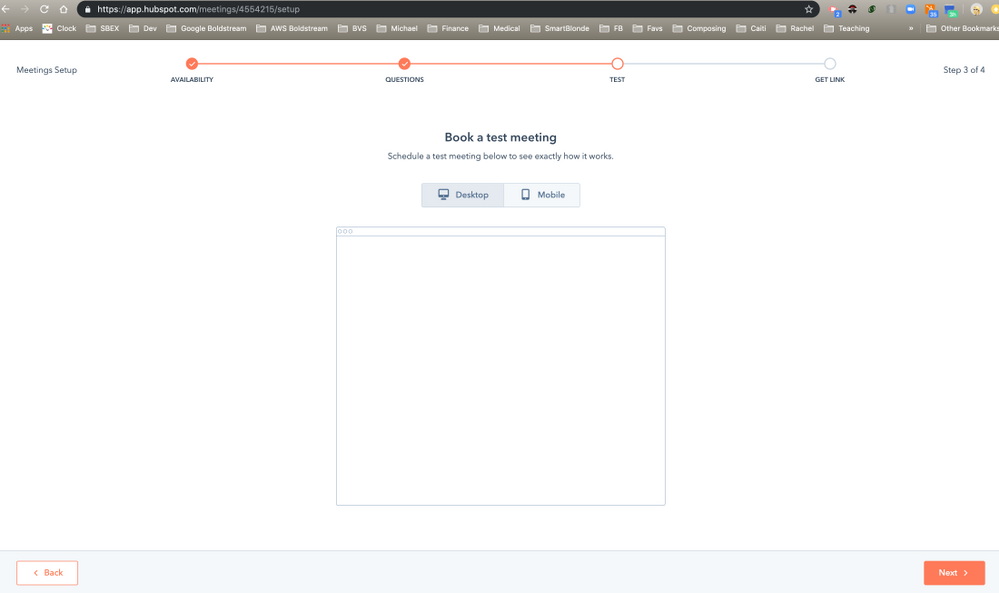 HubSpot Community - Blank page when in setup for Meetings
