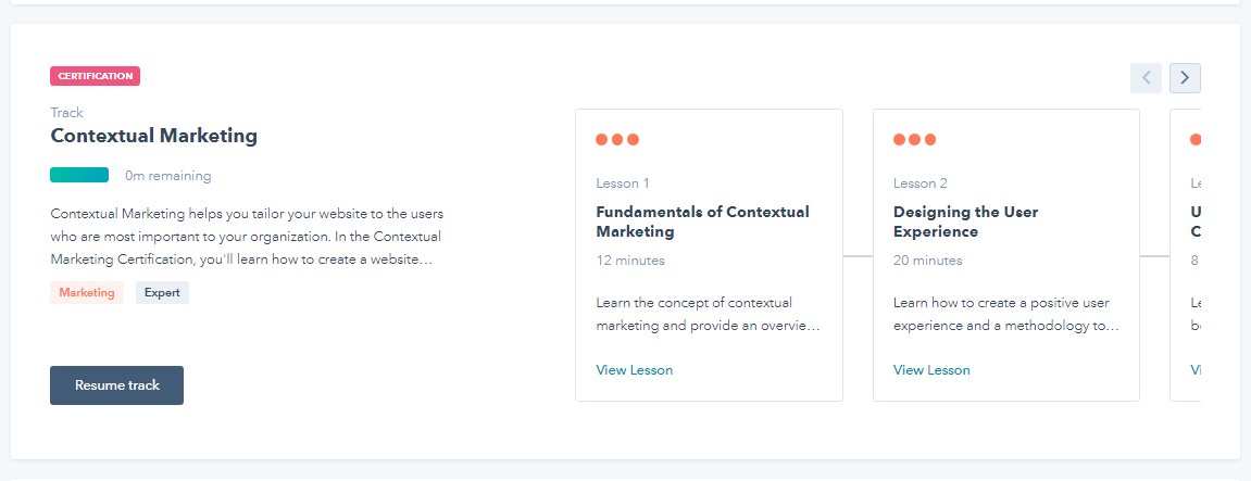 Hubspot Community Contextual Marketing Certification Issue